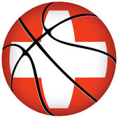 Basketball ball with swiss flag on white. — Stock Vector