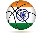 3D basket ball with India flag on white. — Stock Vector