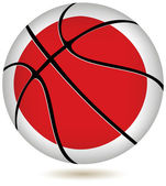 3D basket ball with Japan flag on white. — Stock Vector