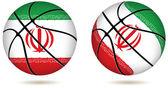 3d 篮子球与伊朗国旗上白 — 图库矢量图片