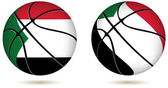 3D basket ball with Sudan flag on white — 图库矢量图片