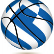 Stock Vector: Basketball ball with Greek flag on white.