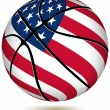 Stock Vector: Basketball ball with USflag on white.