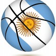 Stock Vector: Basketball ball with Argentinflag on white.