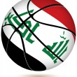 Stock Vector: Basketball ball with Iraq flag on white.