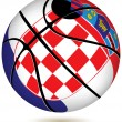 Stock Vector: Basketball ball with Croatiflag on white.