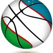 Stock Vector: Basketball ball with Uzbekistflag on white.