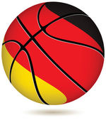 Basketball ball with German flag on white. — Stock Vector