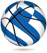 Basketball ball with Greek flag on white. — Stock Vector