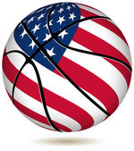 Basketball ball with USA flag on white. — Stock Vector
