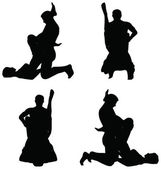 Silhouette with kama sutra positions on white background — Wektor stockowy