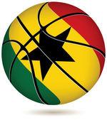 Basketball ball with Ghana flag on white. — Stock Vector