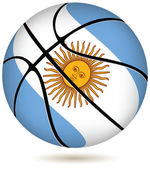 Basketball ball with Argentina flag on white. — Stock Vector