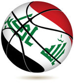 Basketball ball with Iraq flag on white. — Stock Vector