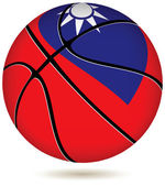 Basketball ball with Taiwan flag on white. — Stock Vector
