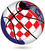 Basketball ball with Croatia flag on white. — Stock Vector