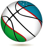 Basketball ball with Uzbekistan flag on white. — Stock Vector