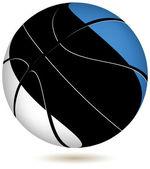 Palla basket con bandiera estonia su bianco. — Vettoriale Stock