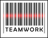 Bar Code icon and red laser sensor beam over teamwork — Stock Vector