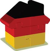 House puzzle in German Flag — Stock Vector