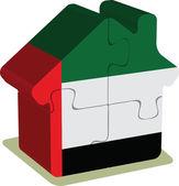 Huis puzzel in Verenigde Arabische Emiraten vlag — Stockvector