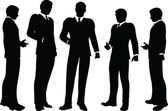 Business people standing silhouette — Stock Vector