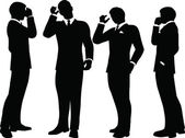 Business people on phone standing silhouette — Stock Vector