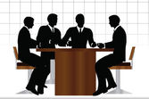 Business people meeting sitting silhouette — Stock Vector