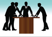 Business people meeting standing silhouette — Stock Vector