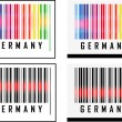 Bar Code icon and red laser sensor beam over Germany — Stock Vector