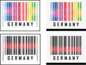 Código de barras ícone e vermelho sensor feixe de laser sobre a Alemanha — Vetor de Stock