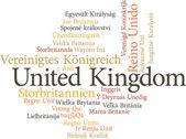 United kingdom in word clouds — Stockvektor
