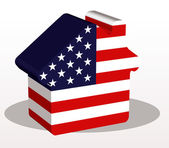 House home icon with USA flag in puzzle — Stock Vector