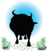 Bull Silhouette — Stock Vector
