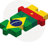 Brazil and Cameroon Flags in puzzle — Stock Vector