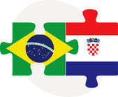 Brazil and Croatia Flags in puzzle — Stok Vektör