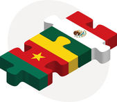 Cameroon and Mexico Flags in puzzle — Stock Vector