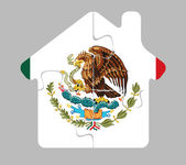 House home icon with Mexico flag in puzzle — Stock Vector