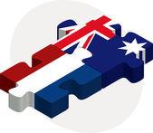 Nederland en australië vlaggen in puzzel — Stockvector