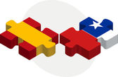 Spain and Chile Flags in puzzle — Stockvektor