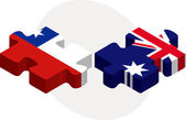 Chile and Australia Flags in puzzle — Stock Vector