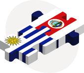 Uruguay and Costa Rica Flags in puzzle — Stockvektor