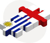 Uruguay and England Flags in puzzle — Vecteur