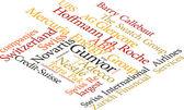 Ilustración de la palabra suizo compañías más grandes en wordclouds — Vector de stock