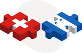 Swiss and Honduras Flags in puzzle — Stock Vector