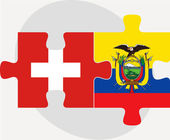 Swiss and Ecuador Flags in puzzle — Stock Vector