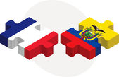 French and Ecuador Flags in puzzle — Cтоковый вектор