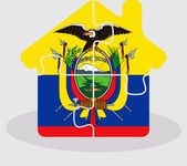 House home icon with Ecuador flag in puzzle — Stock Vector
