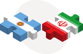 Argentinian and Iranian Flags in puzzle — Cтоковый вектор