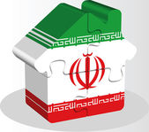 House home icon with Iranian flag in puzzle — Stock Vector